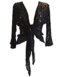 Womens Sparkly Plus Size Sequen Lace Front Tie Evening Bolero Shrug Sizes 10-22