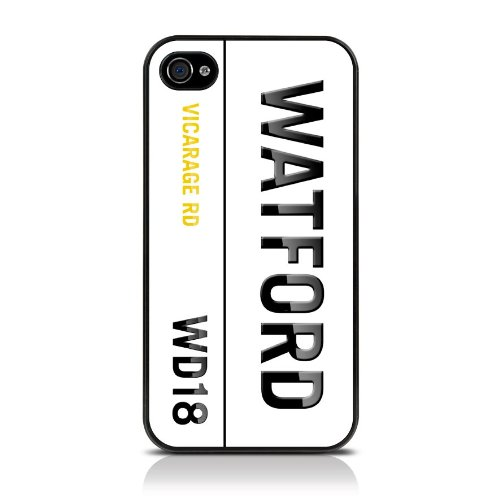 Apple iPhone 4 / 4S Football Collection Postcodes Watford WD18 Glossy Glossy Image Hard Back 2D Printed Case by Call Candy - (122-076-311)