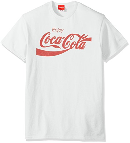 Coca-Cola Men's Eighties Coke Short Sleeve T-Shirt, White, Medium