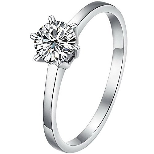 Women's Classic White Cubic Zirconia Stainless Steel Love Promise Wedding Eternity Ring Elegant Silver Size 7