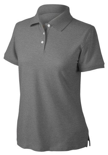 Pima Cotton Pique Polo Shirt (Devon & Jones Women's Short Sleeve Recycled Pima Melange Pique Polo Shirt - BLACK MELANGE D153WGR M)