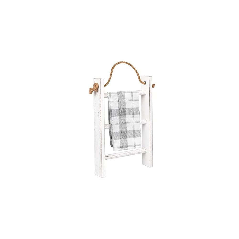 Ilyapa Hanging Towel Rack Ladder for Bathroom - Weathered White Wood Blanket Ladder for Rustic Bedroom Farmhouse Decor