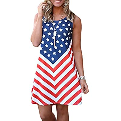 RAINED-Women July 4th Dresses American Flag Printed Sleeveless Tank Mini Dress Swing Midi Party Dress Patriotic Sundress