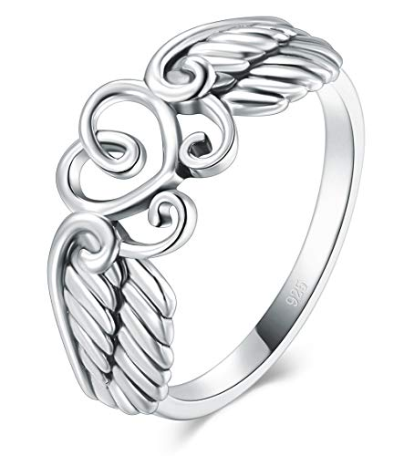BORUO 925 Sterling Silver Ring High Polish Heart Angle Wings Ring Size 6