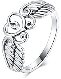 925 Sterling Silver Ring High Polish Heart Angle Wings Ring 4-12
