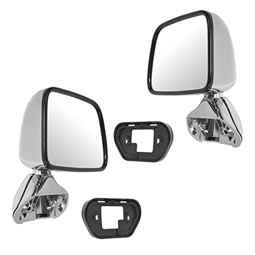 Manual Side View Mirrors Chrome Pair Set for 87-88 Toyota Pickup Truck 4Runner ()