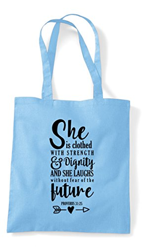 Clothed Motivational Blue Sky Bag She Is With Strength Statement Tote Shopper xIw1PR