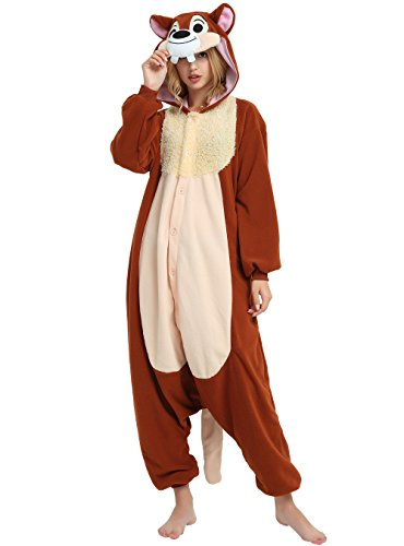 Hallowitch Chip n Dale Chipmunk Onesie for Adults and Teenagers (M/L) Brown ()