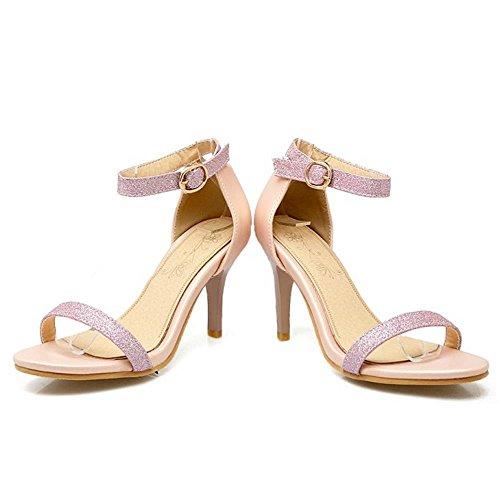 TAOFFEN Mujer Zapatos Moda Punta Abierta Tacon Alto Tacon De Aguja Sandalias De Hebilla Rosado