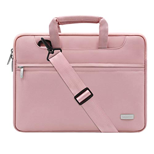 MOSISO Laptop Shoulder Bag Compatible with 13-13.3 inch MacBook Pro, MacBook Air, Notebook Computer with Back Trolley Suitcase Belt, Polyester Carrying Handbag Briefcase Sleeve Case, Pink