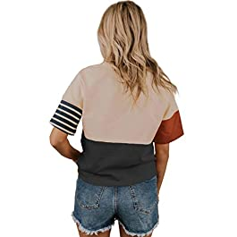 Womens Crew Neck T-Shirts Short Sleeve Fashion Pocket Retro Tops Dark Grey S