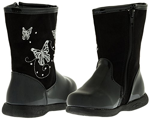 Sara Z Toddler Girls Patent/Matte Boots With Butterflies (Black), Size 9-10
