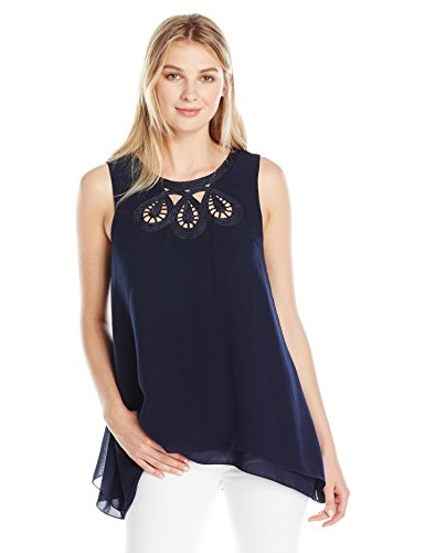 [Lark & Ro Women's Sleeveless Blouse with Embroidered Neckline, Navy/Navy, Small] (Embroidered Sleeveless Top)