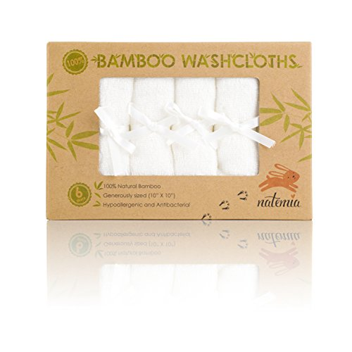 Natemia Bamboo Baby Washcloths – Extra Soft Baby Bath Towels 6 – Pack, Natural Reusable 10″X10″ Wipes