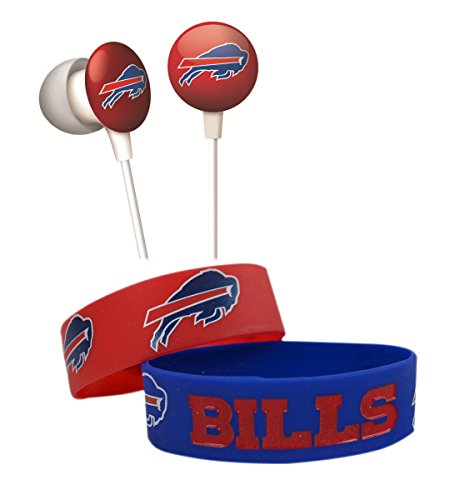 Official National Football League Fan Shop Authentic NFL Earbud Headphones and 2-pack Silicone Rubber Team Wristband Bundle Set (Buffalo Bills)
