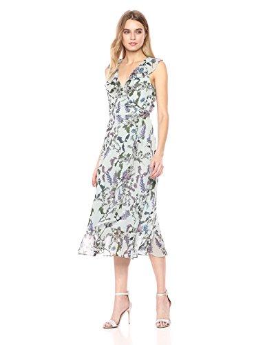 Donna Morgan Women's Printed Chiffon Wrap Dress, Grey/Lavender Multi, 8