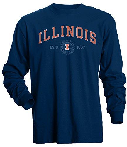 (NCAA Illinois Illini Men's Basic Long Sleeve Tee, X-Large, Navy)