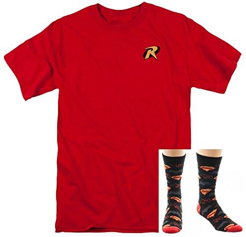 2 Pack Gift Bundle Robin Logo Adult Mens T-shirt & Superman Batman Crew Socks (Medium) (Batman And Robin Shoes)