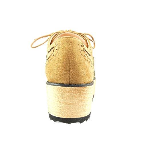 Angkorly - Zapatillas de Moda Zapato acento zapatillas de plataforma mujer perforado Talón Plataforma 5 CM - Camel