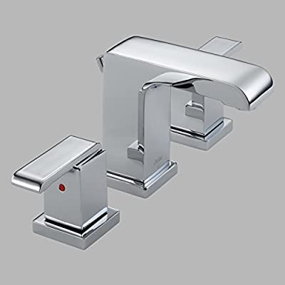Delta Arzo 3586LF Double Handle Widespread Bathroom Sink Faucet with All Metal Pop-up Drain by Stock Market