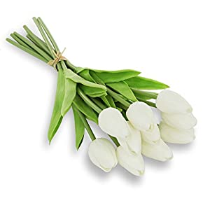 Ezflowery 10 Heads Artificial White Tulips Flowers Real Touch Arrangement (Damaged- May Have Dirty Marks/Broken Heads) (10) 84