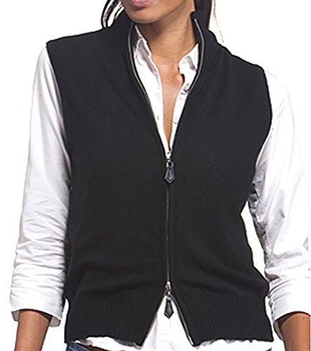 Balldiri 100% Cashmere Kaschmir Damen Kurzarm Weste modisch und sehr feminin chic 2-fädig schwarz XL