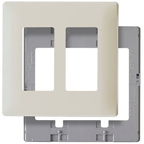 Legrand - Pass & Seymour SWP262LABPCC10 Screw Less Wall Plate Plastic Sub Plate Two Gang Light, Almond