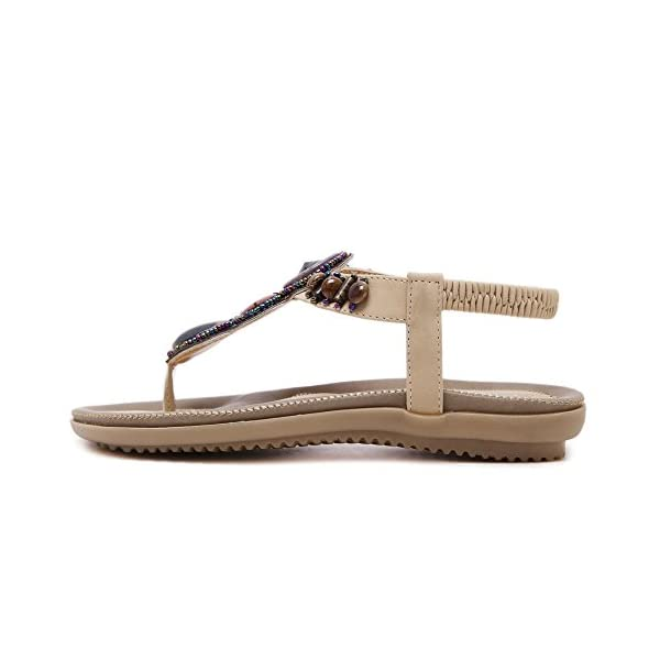 ac4f54ddfc5780 MAKEGSI Summer Women Beading Bohemian Casual Beach Flat T-Strap Sandals  Extra Size US 11.5 - Bohemian Fashion Corner