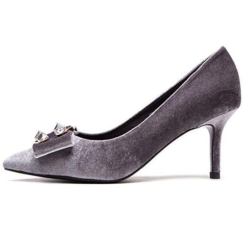 Fine Del Gray Sunny Zapato Alto H04w7791 De Boca Talón Y Superficie Tacón Profundo Zapatos Mate Primavera Otoño Cabeza Apuntado Sra Poco xfvqw8g