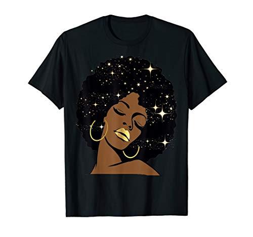 Lips Stars Black Girl Magic Afro Diva T-Shirt Melanin