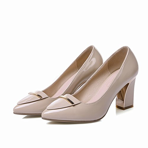 Charm Foot Womens Pointed Toe Chunky High Heel Chic Pumps Shoes Apricot NScht