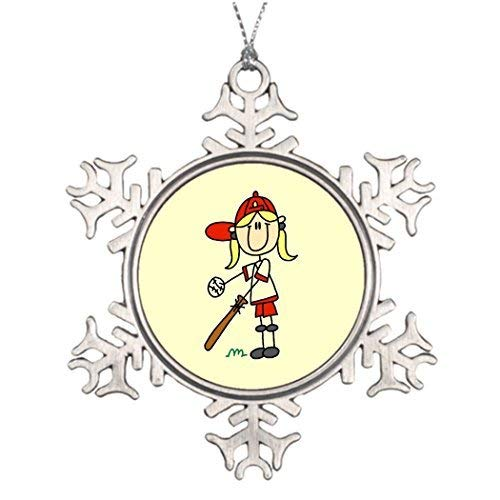 Acove Best Friend Snowflake Ornaments Up at Bat Girl Baseball Player s Christmas Decorating Ideas Christmas Snowflake Ornaments 3 inch]()