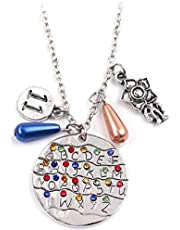 Stranger Things Eleven Crystal Pendant Necklace fashion alloy Sweater chain character necklace