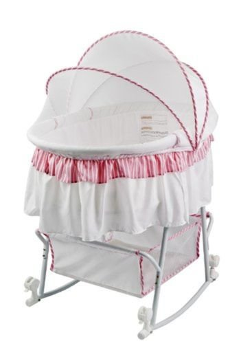 Lacy Protable 2 in 1 Bassinet and Cradle Pink/White