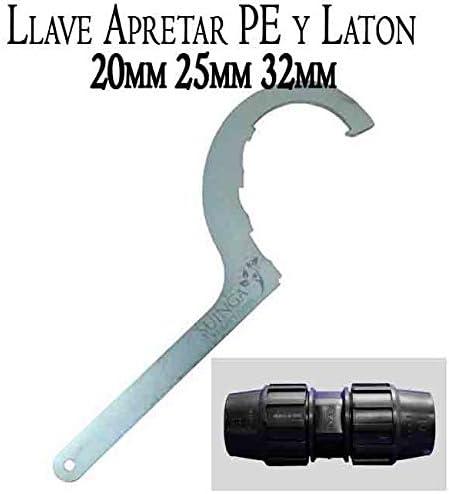 Suinga. LLAVE de apriete ACERO para FITTING de POLIETILENO y LATON. Accesorio para piezas de polietileno de 20mm, 25mm y 32mm. Mordaza de fontanería