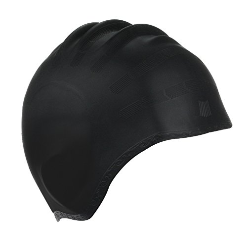 Kinsports Silicone Organic Anti-Allergy Elasticity Durable Swimming Cap, Does Not Pull Hair, Suitable for Short Hair Lady, Men and Children, Black