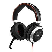 Jabra Evolve 80 UC – Auriculares Estéreo Over-Ear con Cable Optimizados para Comunicaciones Unificadas con Cancelación Activa de Ruido, Conexiones USB-A y Jack de 3.5 mm, Negro