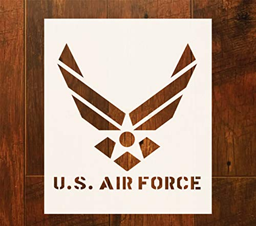 OBUY Large U.S Air Force Stencil for Painting on Wood, Fabric, Walls, Airbrush + More | Reusable 12 x 14 inch Mylar Template (USAF Military Logo) by OBUY