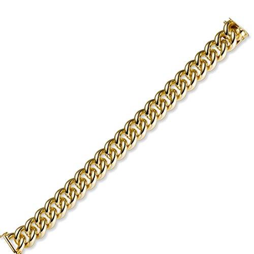 14 Mm couleur rond bracelet gourmette en or jaune 585 massif - 19 cm