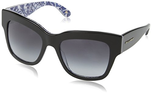 D&G Dolce & Gabbana Women's 0DG4231 Square Sunglasses, Black/Maioliche/Portoghesi/Grey Gradient, 54 - D&g Floral Sunglasses