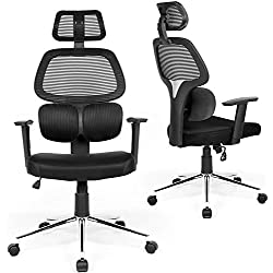 Coavas Ergonomic Office Chair Mesh Computer Desk Chair Adjustable High Back Swivel Task Chairs with Lumbar Support Backrest Headrest Armrest and Seat Height for Home Office Conference