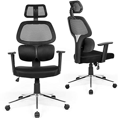 Coavas Ergonomic Office Chair Mesh Computer Desk Chair Adjustable High Back Swivel Task Chairs with Lumbar Support Backrest Headrest Armrest and Seat Height for Home Office (Mesh Back Ergonomic Chair)