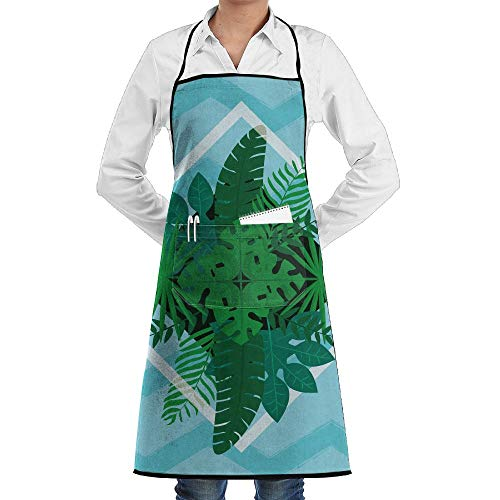 LOGENLIKE Hello Summer Tropical Tree Kitchen Aprons, Adjustable Classic Barbecue Apron Baker Restaurant Black Bib Apron With Pockets For Men And Women