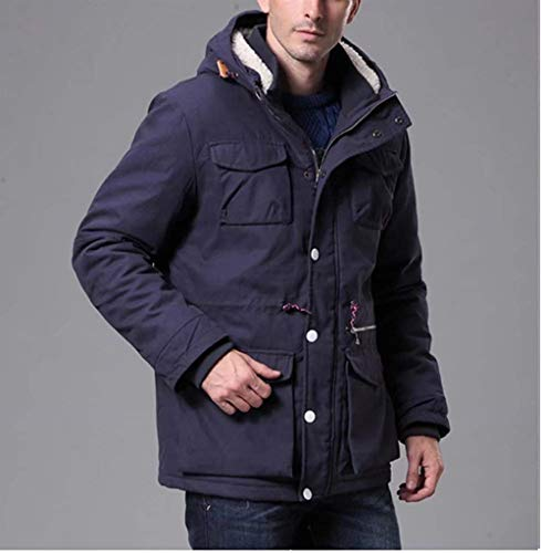 De Fleece Invierno Jacket Men Adelina Hooded Drawstring Sport Dunkelblau Coat Jacket Abrigo Algodón Men Parka Leisure 5UwwH6qT