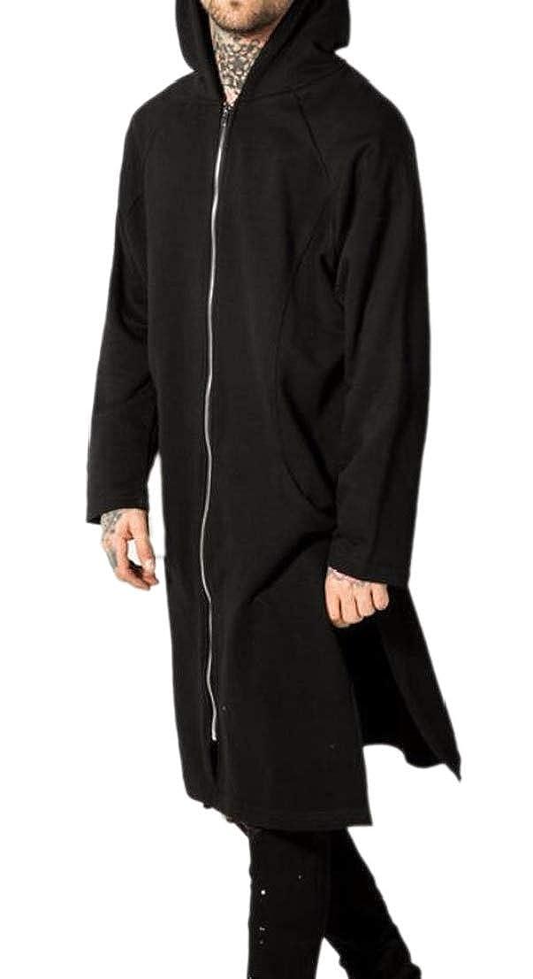 Black GenericMen Hip Hop Zip Up Gothic Classic Hooded Long Sweatshirt Jackets