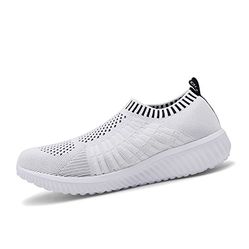 Running Shoes Breathable Sneakers Athletic Casual Walking Women's Mesh White Shoes TIOSEBON 6701 ngHwaBqFfx