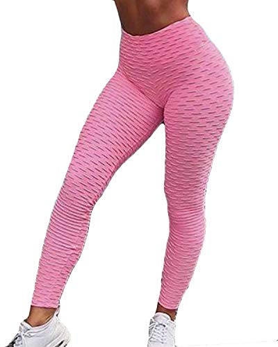 (Fittoo Women's Honeycomb Ruched Butt Lifting High Waist Yoga Pants Chic Sports Stretchy Leggings Pink(S))