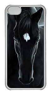 Customized iphone 5C PC Transparent Case - White Black Horse Cover