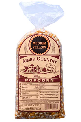 Amish Country Popcorn - 1 Lb Medium Yellow Kernels - with Recipe Guide - Gluten Free, All Natural, Non-GMO, Vegan, Kosher, & Nut Free