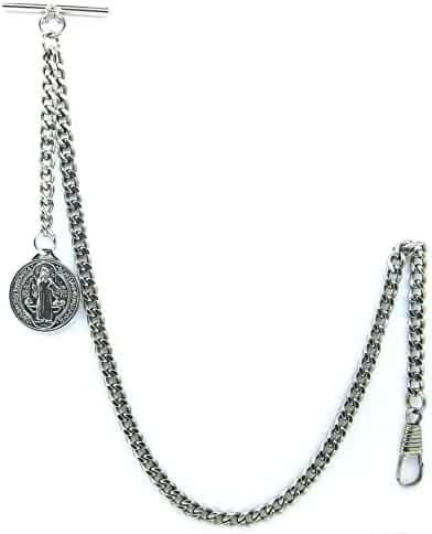 Albert Chain Pocket Watch Curb Link Chain Silver St. Benedict Medal Fob T Bar AC43